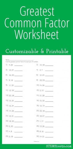 Greatest Common Factor Worksheet - Customizable and Printable Gcf And Lcm Worksheets, Math Multiplication Worksheets, Fractions, Adverbs Worksheet, Math Lesson Plans, Math Lessons, Greatest Common Factors, Factors And Multiples, Math Charts
