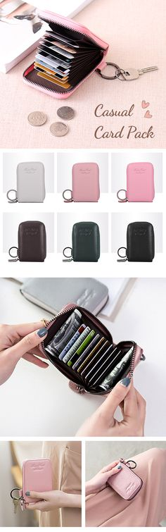 US$9.92 Genuine Leather 6 Colors 11 Card Slots Casual Card Pack Purse For Women