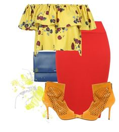 """yellow and red"" by foreverxoxoxoxo ❤ liked on Polyvore featuring BOSS Hugo Boss, WearAll, WithChic and Jimmy Choo"