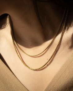 Layer these box beaded chain necklaces in varying lengths for a stacked effect - The Hexad Chan Luu, Sea Glass Jewelry, Silver Jewelry, Gold Chain Design, Gucci, Personalized Necklace, Gold Fashion, Jewelry Shop, Jewellery