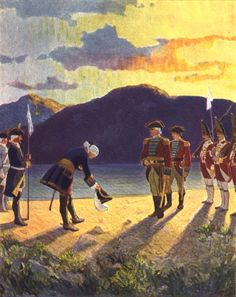 """""""The Meeting of the Generals,"""" illustration from """"The Last of the Mohicans,"""" by James Fenimore Cooper (1919)"""