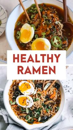 Easy homemade healthy ramen bowls! Made with carrots, mushrooms, kale or spinach. Seasoned with Asian flavors like fresh garlic, ginger, and green onions. Top with a variety of toppings like jalapenos, sesame seeds, and jammy hard-boiled eggs. Soup | Soup Recipes | Vegetable Soup | Chicken Soup | Healthy Soup | Easy Recipes | #souprecipes #ramenrecipes #soup #ramen #vegetaria Healthy Ramen, Plats Healthy, Vegan Ramen, Healthy Thai Food, Healthy Soups, Healthy Vegetables, Healthy Side Dishes, Healthy Chicken, Healthy Dinner Recipes