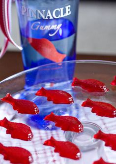 Swedish Fish Jello Shots- you could also just soak swedish fish candies in the Gummy vodka in the fridge for a week.