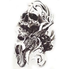 1PCS Black Death Skull Head Shoulder 3D Waterproof Tattoos For Men Temporary Tattoo Sleeve Arm Sticker Metallic Tattoo Body Art
