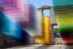 Quintessenz Installation for Paxos Contemporary Art Project Meshes Spray Paint and Greek Ruins Fabric Installation, Light Art Installation, Art Installations, Artistic Installation, Tinta Spray, Grafiti, Rainbow Light, Colossal Art, Grid Design