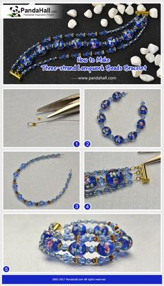 How to DIY Three-strand Lampwork Beads Bracelet Thread bicone glass bead, lampwork beads and alloy bead spacers into three chains and connect them together, then a delicate bracelet is made!