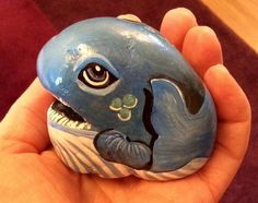 Blue whale hand painted beach rock pebble stone