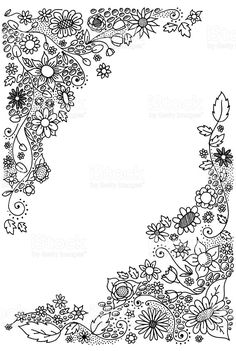 doodle flower corners royalty-free doodle flower corners stock vector art & more images of color image Doodle Borders, Doodle Patterns, Doodle Designs, Floral Embroidery Patterns, Hand Embroidery Designs, Flower Patterns, Flower Mandala, Flower Art, Flower Boarders