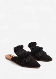 Backless fringed shoes -  Women | MANGO USA