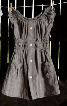 Love this!!  Upcycled shirt dress. #Refashion inspiration for #girls