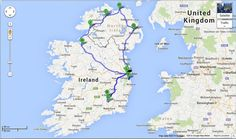 Map illustration of our Ireland and Northern Ireland driving itinerary