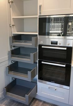 Space tower: kitchen units by greengage interiors, modern Kitchen Pantry Design, Diy Kitchen Storage, Modern Kitchen Cabinets, Kitchen Units, Modern Kitchen Design, Home Decor Kitchen, Kitchen Styling, Interior Design Kitchen, Home Kitchens