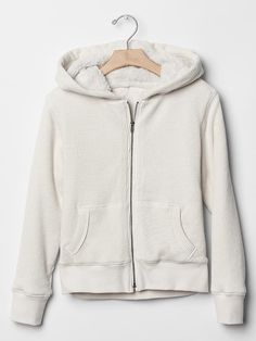 Waffle sherpa-lined zip hoodie Product Image