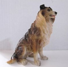 """Large Collie Dog Puppy Resin Figurine 7"""" Tall, Beautiful Dark Brown, Golden Brown and Tan Color $16.95 #Collie JustLuvTreasures.com"""
