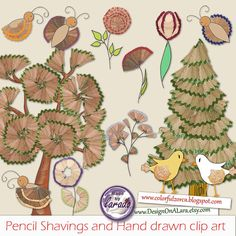 Pencil Shavings and Hand drawn clip art Forest by DesignOnALara