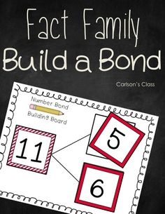 **FREEBIE** Build a bond mat and building cards! Good practice for building fact families! Math Classroom, Kindergarten Math, Teaching Math, Math Worksheets, Math Resources, Math Activities, Math Stations, Math Centers, Engage Ny Math
