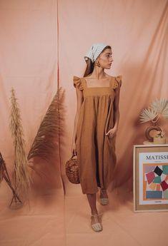 ORCHID dress in almond – blueanemone Linen Dress Pattern, Girl Fashion, Fashion Outfits, Fashion Design, Jane Birkin Style, Cotton Dresses Online, Mode Streetwear, Casual Summer Dresses, Fashion Stylist
