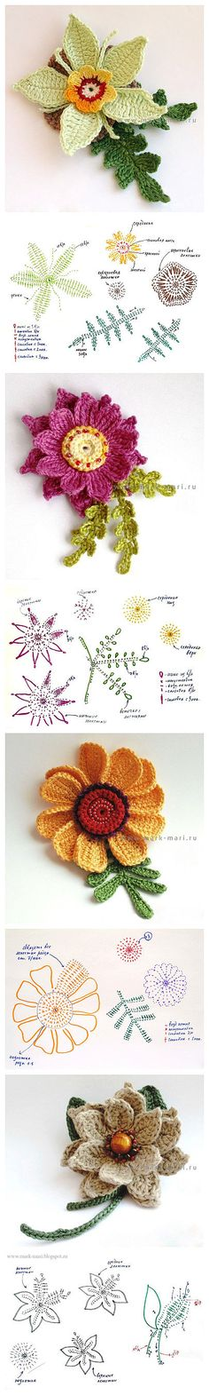Most up-to-date Totally Free Crochet Flowers bunch Strategies If you learn just how to crochet the bloom, then you can certainly produce lots of projects. Crochet Motifs, Crochet Flower Patterns, Freeform Crochet, Thread Crochet, Irish Crochet, Crochet Designs, Crochet Lace, Crochet Stitches, Knitting Patterns
