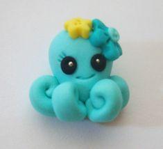 M2MG Sea Splash Octopus Polymer Clay Charm Bead, Scrapbooking, Bow Center, Pendant, Cupcake topper, Magnet. $2.25, via Etsy.