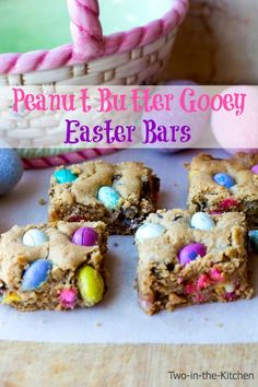 Peanut Butter Easter Gooey Bars on MyRecipeMagic.com. These are soft and gooey and loaded with peanut butter M&M's!