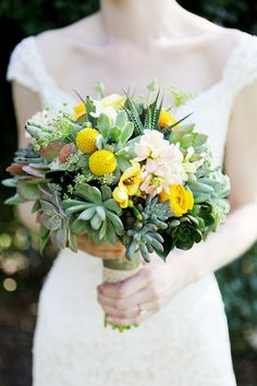 succulent bouquet with yellow