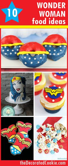 Wonder Woman food ideas for your Superhero party, a roundup Wonder Woman food ideas — Wonder Woman party ideas — superhero –Wonder Woman movie Wonder Woman Kuchen, Wonder Woman Cake, Wonder Woman Party, Superhero Birthday Party, 6th Birthday Parties, Birthday Ideas, Superhero Party For Girls, Birthday Recipes, 17th Birthday