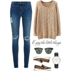 Oatmeal Sweater + Ripped Jeans + Leopard Slip-ons + Black Watch // Polyvore