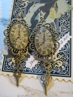 Watch Face Earrings by jansbeads on Etsy, $17.00