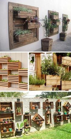 Interesting Diy Projects Pallet Garden Design Ideas 25 - New ideas Backyard Garden Landscape, Backyard Patio, Backyard Landscaping, Palette Herb Garden, Potager Palettes, Succulent Garden Diy Indoor, Succulent Wall Gardens, Wood Pallet Planters, Pallet Garden Walls