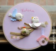 ❤ I love this sweet craft so much ❤ ~ Lovely Birdies Family Felt Craft on Hoop by Ana Christello ~