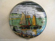 Vintage Foil Village Sail Boat Nautical Scene Purse Compact Gwenda Made England | eBay