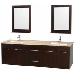 Wyndham Collection Centra 72 inch Double Bathroom Vanity in Espresso, Ivory Marble Countertop, Undermount Square Sink, and 24 inch Mirrors, Multicolor