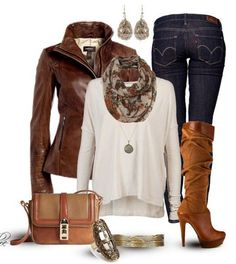 Trendy Outfit Ideas   The Trendy Outfit Idea, brown leather jacket, white knit top, jeans ..