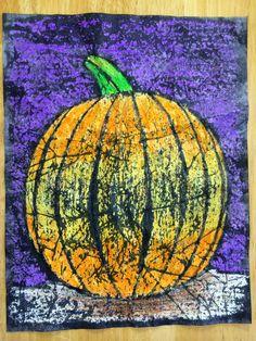 AngelNik Designs & Art Project Ideas: Crayon Batik Pumpkin In The Moonlight Color Value Lesson Halloween Art Projects, Theme Halloween, Fall Art Projects, September Art, Arte Elemental, 2nd Grade Art, Batik Art, Pumpkin Art, Ideas