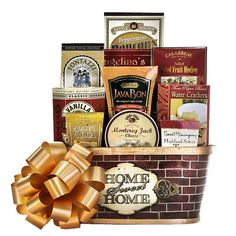 Our Welcome Home gift basket is the perfect gift to send someone celebrating their new home with enjoyable gourmet foods! The Welcome Home gift basket is a hear Housewarming Gift Baskets, Gourmet Gift Baskets, Homemade Liquorice, Caramel Cappuccino, Almond Roca, Welcome Home Gifts, Boyfriend Gift Basket, Sweet Butter, Dark Chocolate Bar