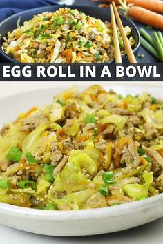 This Easy Egg Roll in a Bowl recipe is loaded with Asian flavor, ground turkey, ground chicken, or ground beef, and shredded cabbage. It is a low-carb, keto, Paleo, Whole30, and gluten-free dinner meal idea. You can meal prep and plan it or whip it up as a 30-minute meal on a busy weeknight! #keto #lowcarb #dinner #recipe