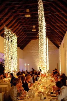 string lights wall wedding ceremony decor ideas