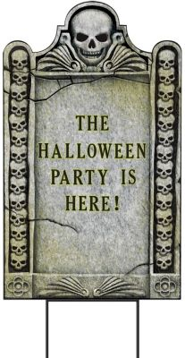 Let everyone know where the Halloween party is with this tombstone sign kit! You can personalize the tombstone to say whatever you'd like and place it in your yard for all of the guests! Only $11.99 from #Parties2order