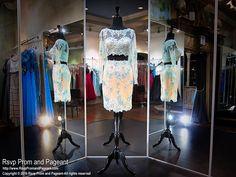 Long Sleeve Aqua Lace Two Piece Homecoming Dress