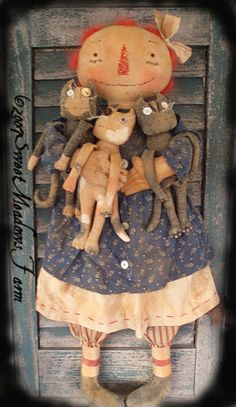 Primitive Old Raggedy Doll with Grungy Cats