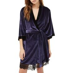 Women's Topshop Nocturne Lace And Velvet Robe (225 SAR) ❤ liked on Polyvore featuring intimates, robes, navy blue, velvet bathrobe, navy robe, bath robes, lace dressing gown and velvet robe