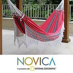 @Overstock - The bright colors and long macrame fringe on this Scarlet Samba cotton outdoor hammock will make you feel like you are vacationing in Brazil. This handmade hammock from NOVICA brings the spirit of Carnival to your outdoor living space.http://www.overstock.com/Worldstock-Fair-Trade/Cotton-Scarlet-Samba-Hammock-Brazil/6341597/product.html?CID=214117 $108.89