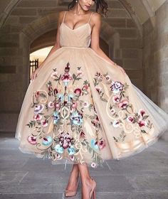 charming flowers with tulle prom dress,sling evening dress,