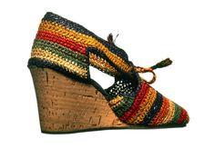 Cork and raffia wedge heeled sandals by Salvatore Ferragamo, 1942.