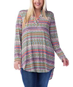 Another great find on #zulily! Purple & Mint Geometric Hi-Low Tunic - Plus #zulilyfinds