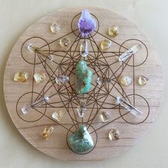 'Abundance' Crystal Grid: Purpose: For inviting and feeling deserving of abundance, prosperity and success in all areas of your life. Crystals: Amethyst, Chrysoprase, Citrine, Clear Quartz and Peridot. Metatron's Cube Symbol: Embodies the keys of our Universe, and 5 Platonic Solids from which all life springs. Used for creation, balance and potential.