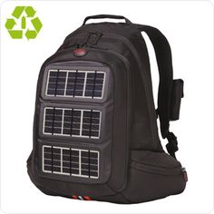 """From Office Depot and their Volaic line.  Available in backpack or messenger styles, these bags contain solar charging panels on their outer flaps, designed to provide recharging for MP3′s, Blackberrys, most cell phones, PDA's, and even digital cameras.  The bags are made of recycled soda bottles."""