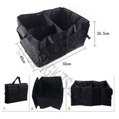 Large Car Trunk Storage Organizer Travel Camping Grocery Bag Multipocket folded