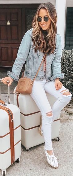 #spring #outfits top, white ripped jeans, denim jacket, flats
