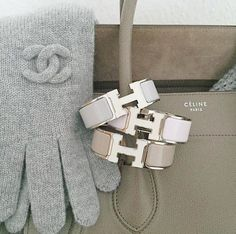 Stack Inspo: Muted chic | Grey Chanel gloves, greige Celine bag, stacked Hermès Clic Clac